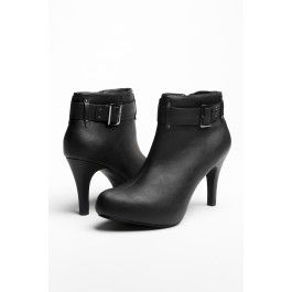 Black leather heel booties with buckle