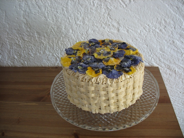 This one was lots of fun, but a lot of work!  I picked the pansies from my garden and spent a long time candying them!  It was my first attempt at a basket weave, not as difficult as I thought it would be!