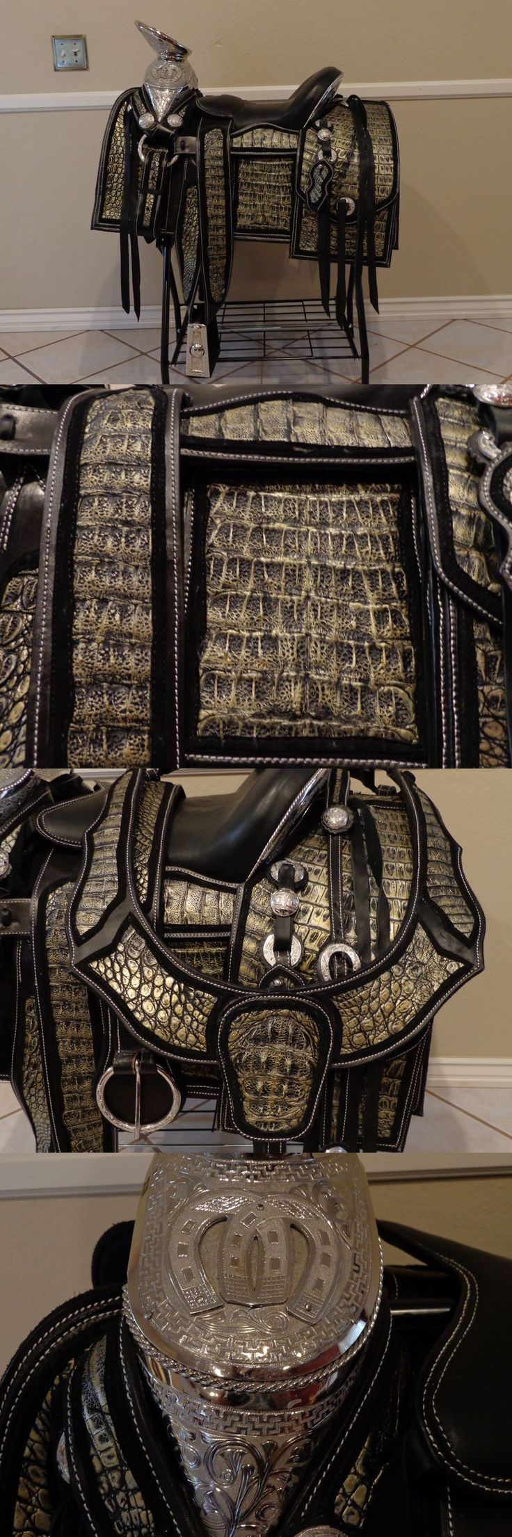 Western Show Accessories 160042: 15-1 2 Mexican Saddle Monturas Charras Exotica. Genuing Caiman Leather -> BUY IT NOW ONLY: $3155 on eBay!