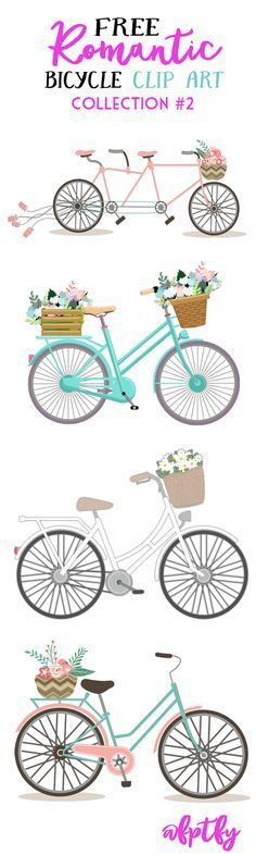 Free Romantic Bicycle Clip Art- Set #2! - Free Pretty Things For You