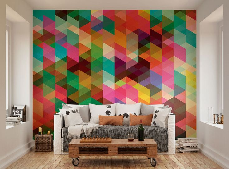 ohpopsi Modern Design Colourful Geometric Triangle Pattern Wall Mural #ohpopsi #WallMural