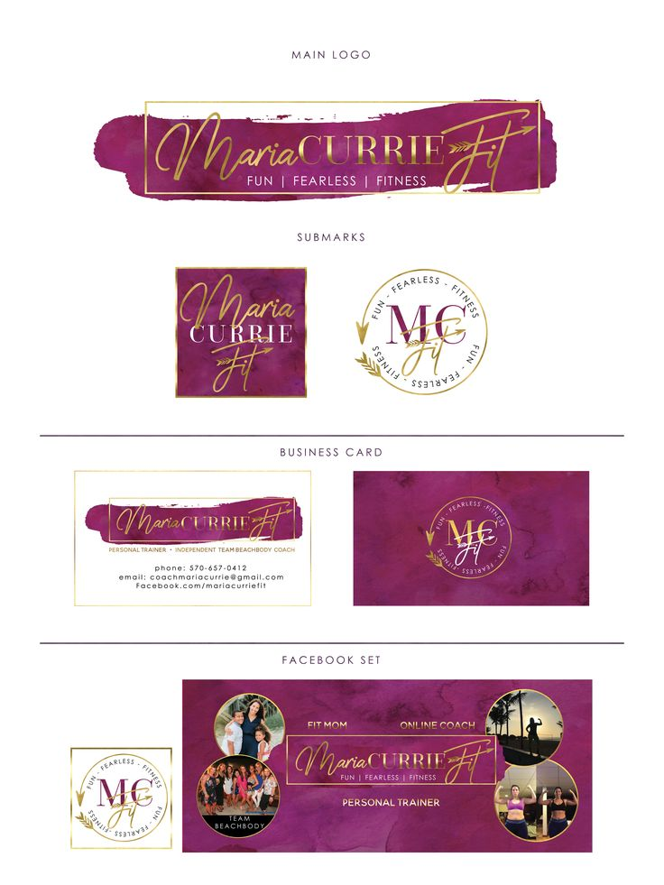 Fitness Instructor Feminine Glam Branding Set, Custom made
