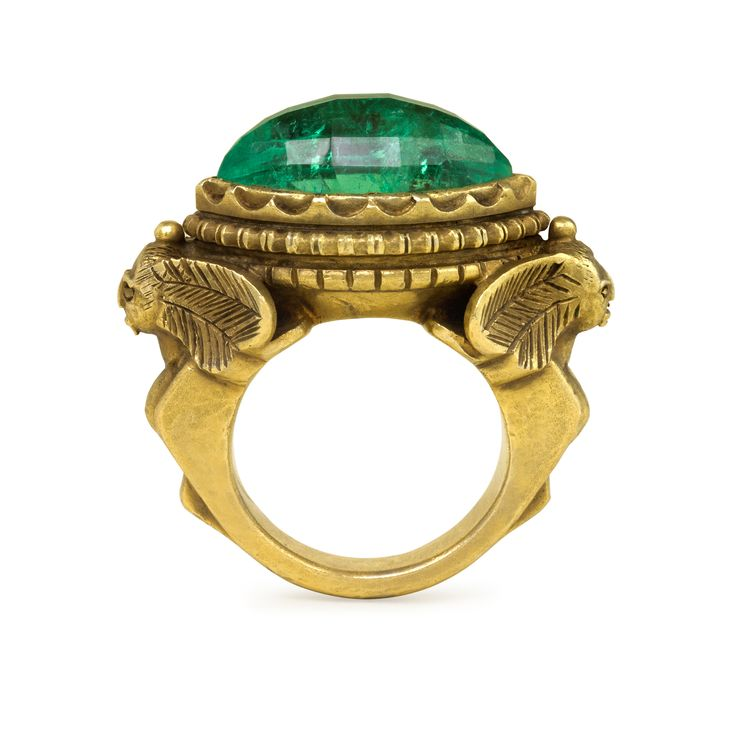 Antique Egyptian Revival Poison Ring, Emerald and 18k Gold, circa 1890. Courtesy of Kentshire.