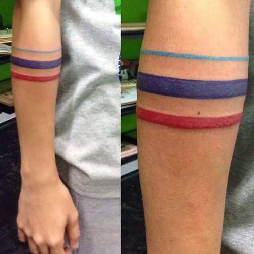 colorful armband tattoo renkli kol bandı dövmesi