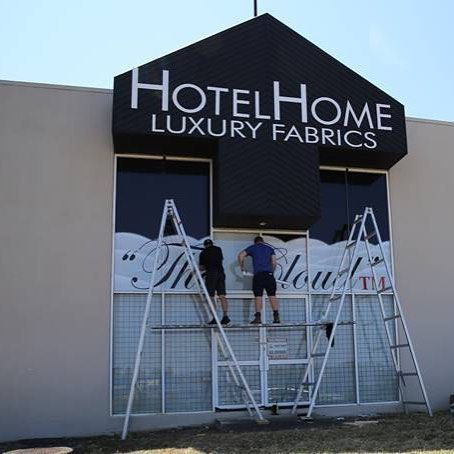 """Action stations at @hotelhomeaust HQ as our new signage for our iconic """"Cloud"""" Bed Topper is installed.... ☁️#hotelhomeaust #thecloud #bedtopper #hoteldesign #interiordesign #stylist #watchthisspace #springclean #hotelbed #bedlinen"""