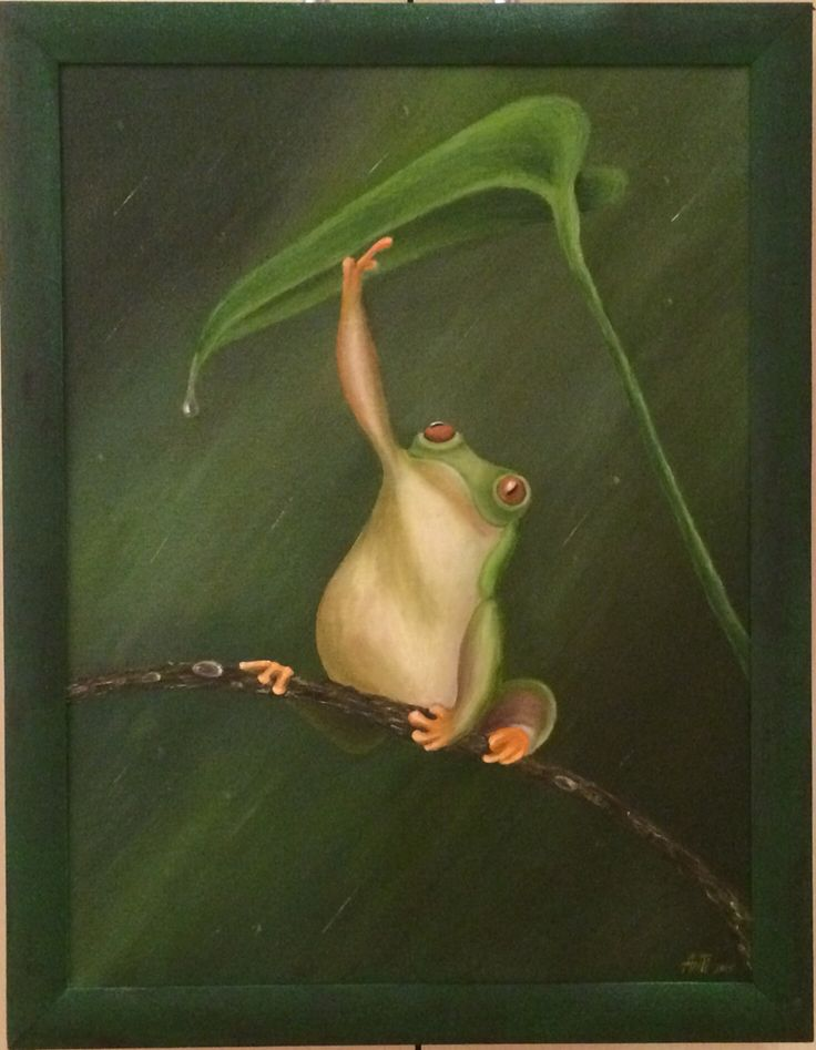 #frog rain and the leaf #oil #canvas