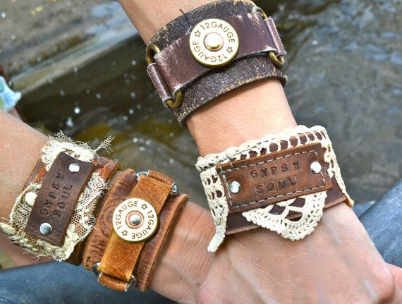Crowd Crow Gypsy Soul leather cuffs by CrownedCrow on Etsy, $26.00