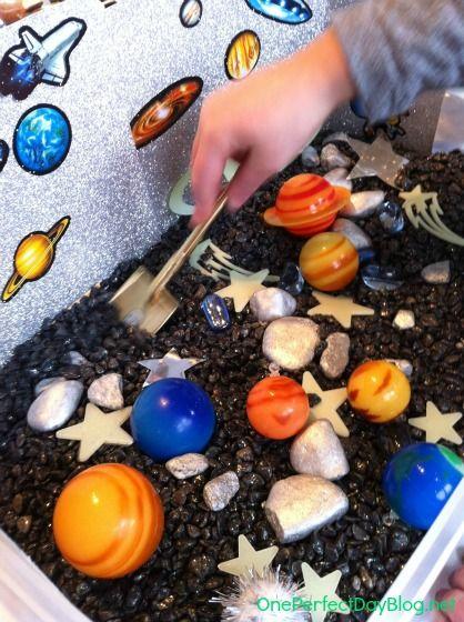 Space themed sensory tub