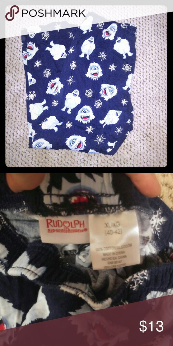 """Men's Bumble flannel pj pants Bumble, from the classic """"Rudolph the Red Nose Reindeer"""" is everyone's favorite abominable snow man.  These flannel men's pajama pants are in excellent used condition and will make the winter's cold so much warmer and cozier. Rudolph the Red Nose Reindeer Pants Sweatpants & Joggers"""