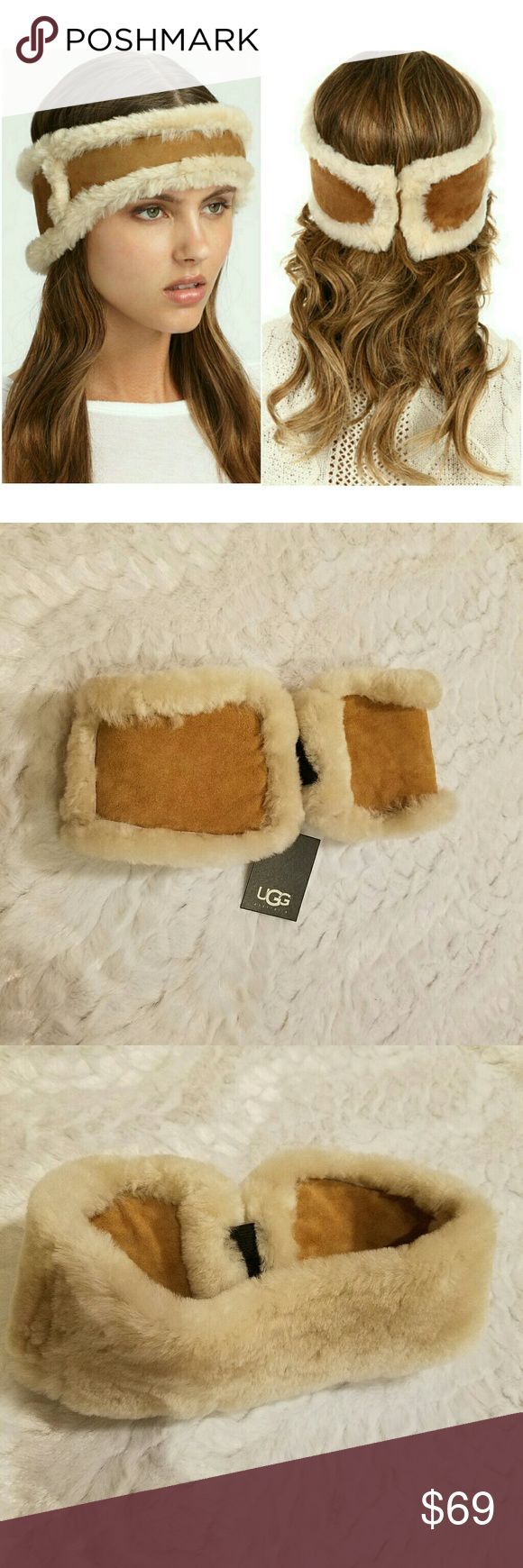 NEW UGG Nubuck and Shearling Headband New with tags on, never been worn, no defects One size fits all Elastic at back helps with fit Super soft and cozy Very warm!! Covers your ears!  But doesn't ruin your hair!!  Ugg sign is worn toward the front, will be right in the middle of the forehead UGG Accessories Hats