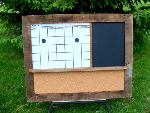 Barnwood Magnetic Dry Erase Calendar, Chalkboard or Dry Erase Board and Corkboard. This is EXACTLY what I've been looking for! Too bad it's $150