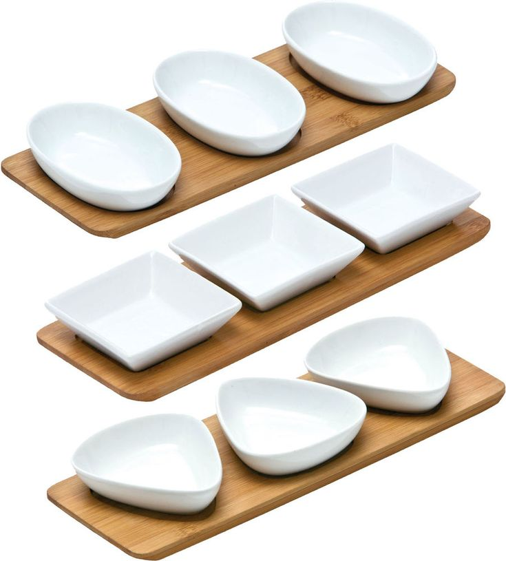 White Porcelain Snack Bowls On Bamboo Trays Serving Tapas Dishes Nuts Bowl Tray