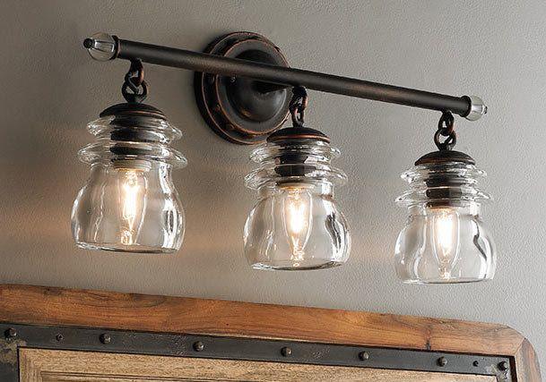 Industrial Chic To Rustic Farmhouse Bath Lights Rustic Bathroom