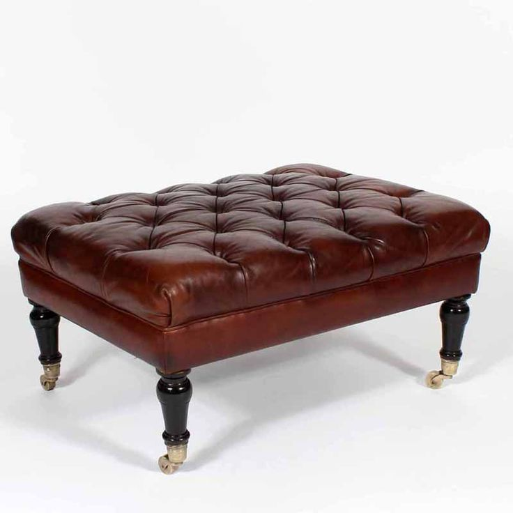 tufted leather ottoman or bench late 19th c fs henemader antiques - Brown Leather Ottoman