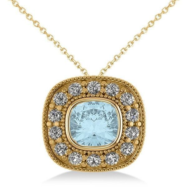 Allurez Aquamarine & Diamond Halo Cushion Pendant Necklace 14k Yellow... (609.960 CLP) ❤ liked on Polyvore featuring jewelry, necklaces, gold necklace, blue pendant necklace, 14k gold necklace, 14k necklace and circle necklace #gold14knecklace #halonecklace