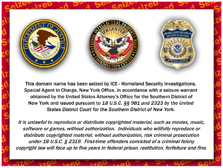 Website seizure notice posted by the Department of Justice and the Department of Homeland Security