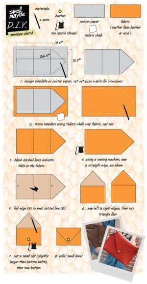 DIY clutch. by muriel.  I have another idea with this pattern.  I see a mini doll house.