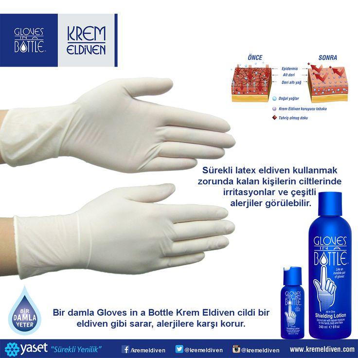 Sürekli latex eldiven kullanmak zorunda kalan kişilerin ciltlerinde irritasyonlar ve çeşitli alerjiler görülebilir. Latex eldiveni kullanmadan önce; Bir damla Gloves in a Bottle Krem Eldiven cildi bir eldiven gibi sarar, alerjilere karşı korur. #kremeldiven #GlovesinaBottle #Latexeldiven #Latexalerji #doktor #hemşire #latex >detaylı bilgi için www.kremeldiven.com