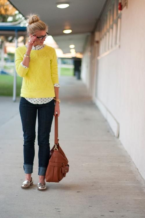 yellow / black and white polka dots / cognac / denim / outfit