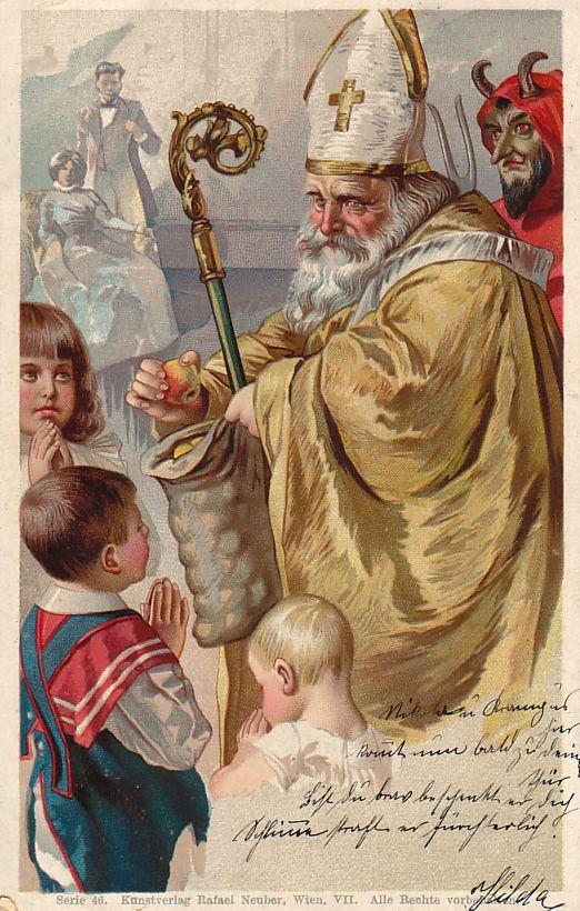 St. Nicholas Center :: Austria. See Krampus behind St. Nicholas?