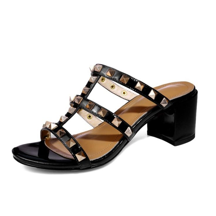 Summer 2017 Women Gladiator Sandals Rome Genuine Leather Rivet Stud Ladies Mules Slippers CHUNKY High Heeled Slides Shoes