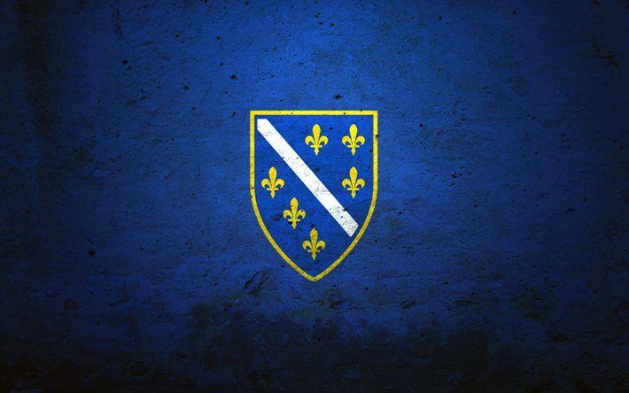 Bosnia and Herzegovina flag, stone, flag of Bosnia and Herzegovina, flags