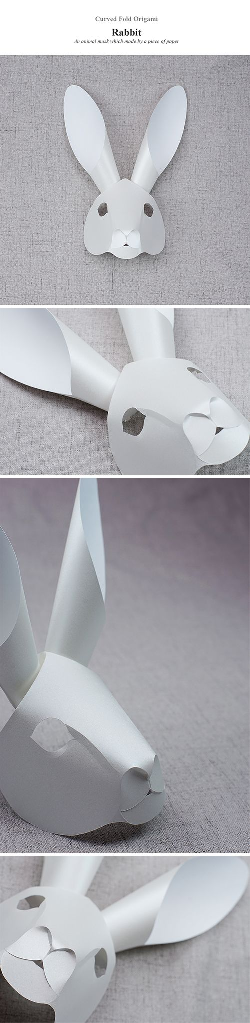 Curved Fold Origami: Rabbit. Animal mask which made by only a piece of paper.