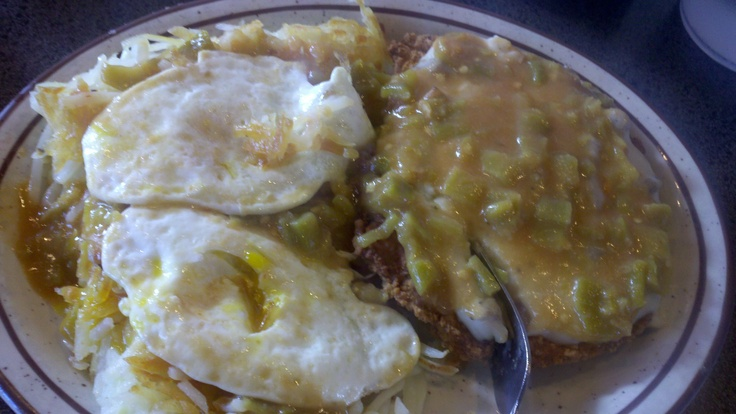 Green Chili Chicken Fried Steak breakfast from Weck's in Albuquerque, New Mexico