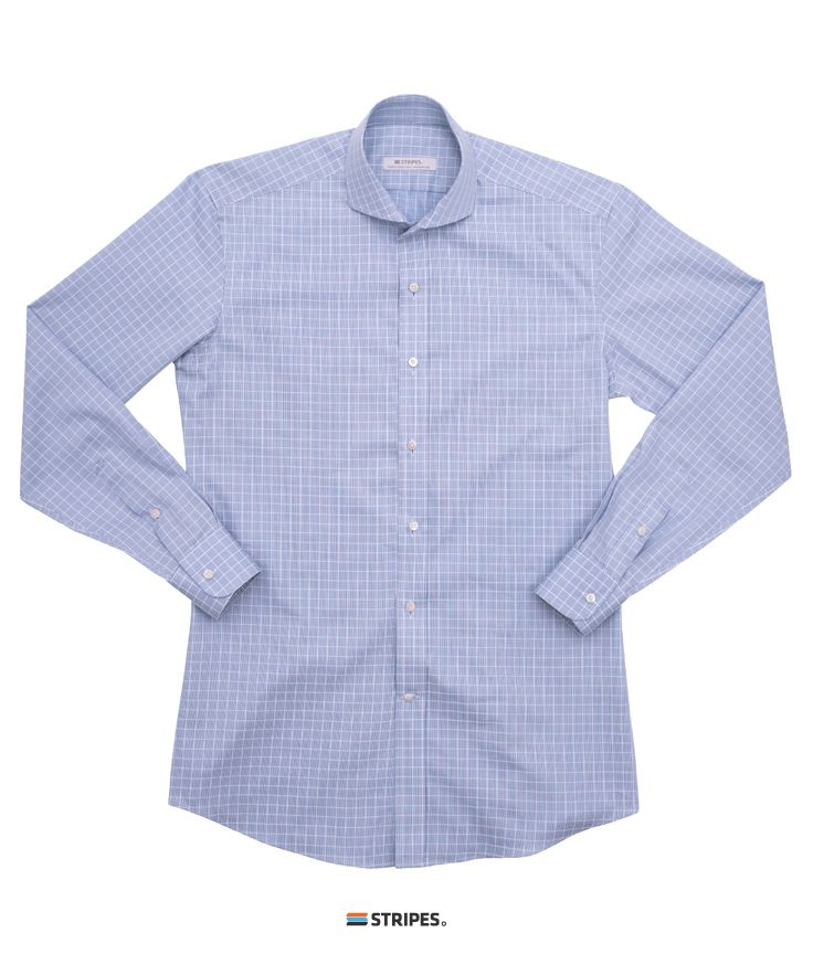 SHIRT. ITALIAN BLUE CHECK