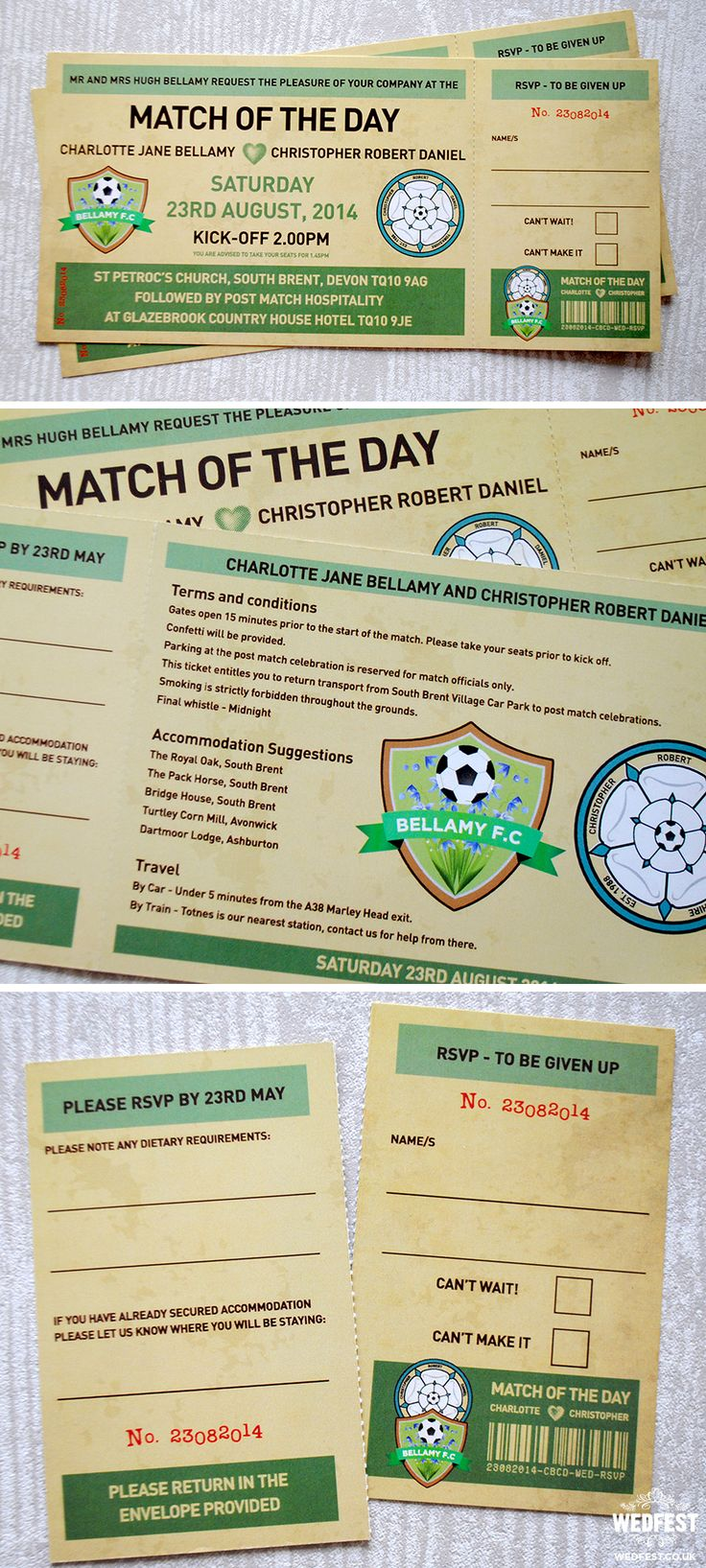 match of the day vintage football ticket wedding invites http://www.wedfest.co/football-themed-wedding-stationery/