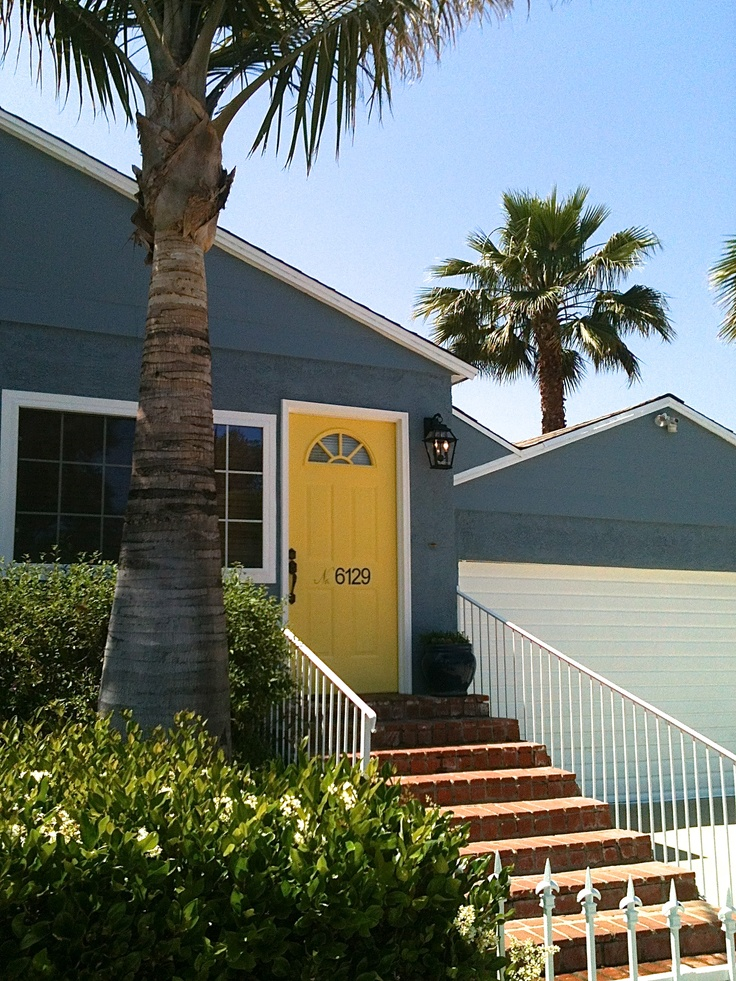 Yellow front door blue gray exterior white trim via for Californian bungalow front door