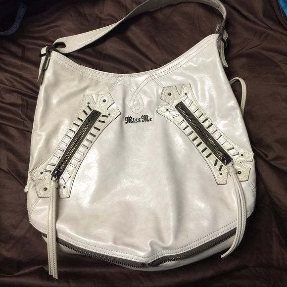 Miss Me Purse Used Miss Me Large Shoulder Faux Leather Bag, Color Ivory (tint of blue from jeans on back of bag) Miss Me Bags Shoulder Bags