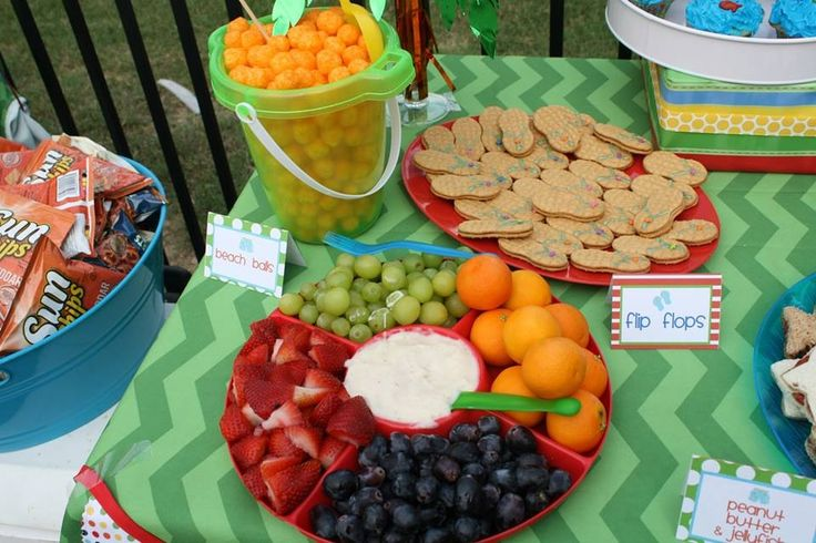 Beach ball food pool party kid birthday party ideas for Pool and food