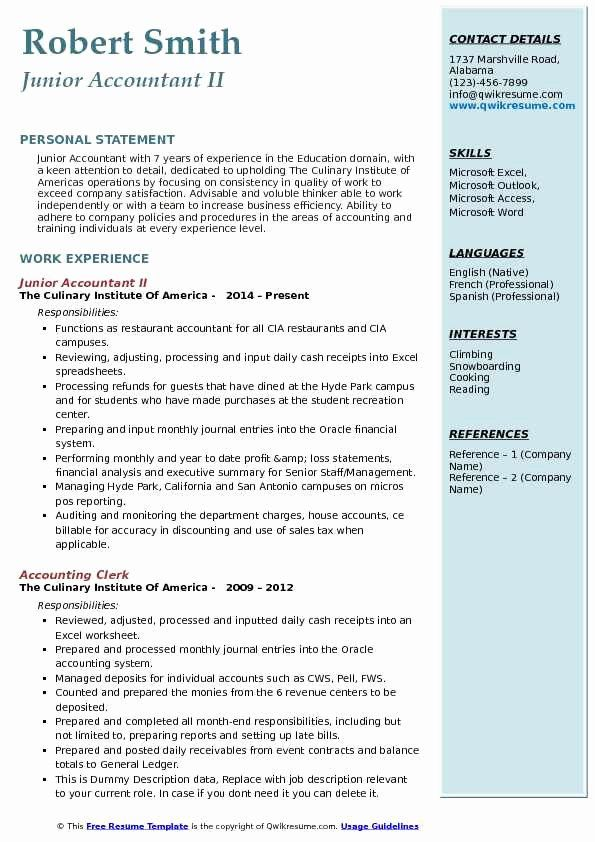 Accountant Resume Sample Pdf Fresh Junior Accountant Resume Samples In 2020 Resume Examples Accountant Resume Good Resume Examples