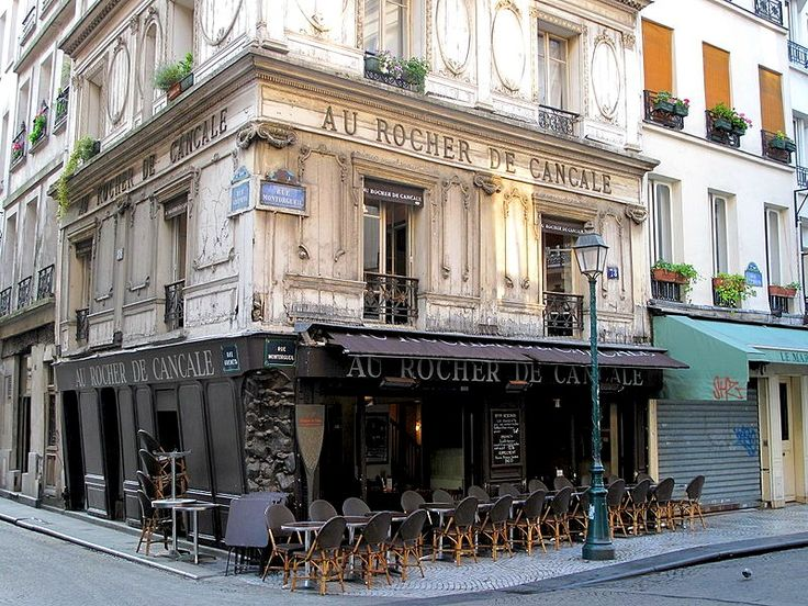 Au Rocher de Cancare, Paris  | by © Tangopaso        Au Rocher de Cancale is a Paris restaurant, located at No. 59 on the Rue Montorgueil, 2nd arrondissment, Paris. The restaurant  has enjoyed its fame and great success during the Belle Epoch in 19th century. Because of its location and the excellence of cuisine, the customers enjoyed the dinners after the theaters or the Opera house at Au Rocher. Coco Chanel was one of those celebrity clients in that era.