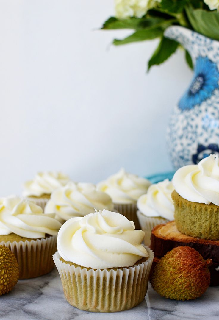 Green Tea Cupcakes with Lychee Frosting 7 | Sprig and Flours