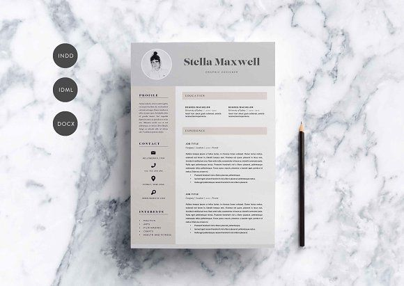 3 Page Resume Template | INDD + DOCX by Basic Creations on @creativemarket Professional printable resume / cv cover letter template examples creative design and great covers, perfect in modern and stylish corporate business design. Modern, simple, clean, minimal and feminine style. Ready to print us letter and a4 layout inspiration to grab some ideas. In psd, indd, docs, ms word file format.