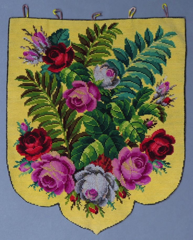 Antique Victorian Berlin Woolwork Silk Beadwork  Embroidery Banner Panel   big