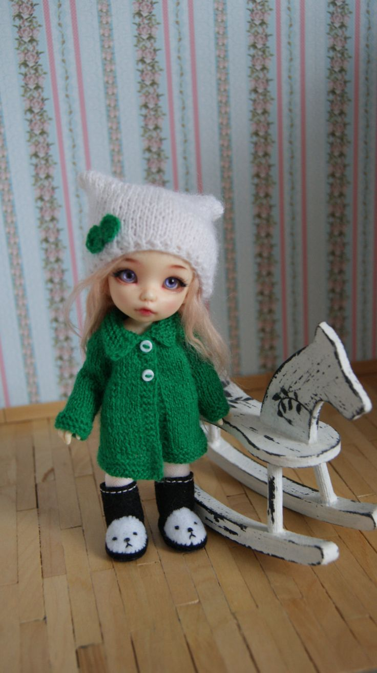 This coat and cap fits Lati Yellow Dolls, Dolls PukiFee Fairyland and Luts Delf Tiny Dolls. by CocoDolls on Etsy