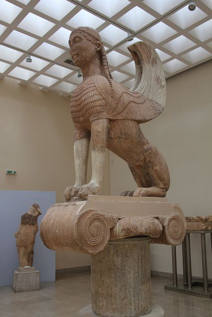 Picture of the Sphinx of Naxos at the Delphi museum, Large Sphinx of Naxos sitting on an Ionic column circa 560 B.C.
