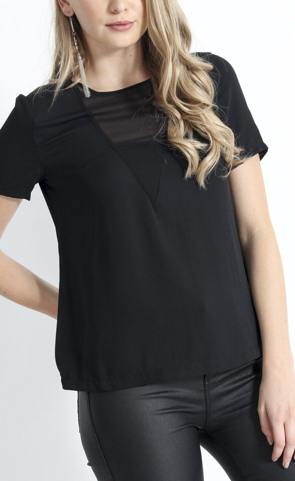 Jersey Sheer Panel Top | The subtle panelling design and texture mix make this top perfect for your everyday wardrobe. Style with denim and boots for a chic weekday look.