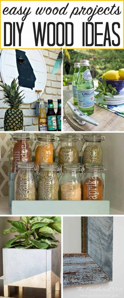 Great wood projects! LOVE the state-themed bottle opener and the nautical serving tray! Spice rack, barn wood mirror, planter boxes...THESE ARE AWESOME and easy DIY wood ideas!!
