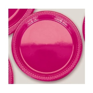 "Plastic Magenta Dessert Plates.  Plastic 7"" Dessert Plates Solid Colours.  There are 20 Solid Colour Plastic 7"" Dessert plates per package. They come in 22 colours and are a great party accessory where you want to match a colour and you also want a plate that is stronger than paper."