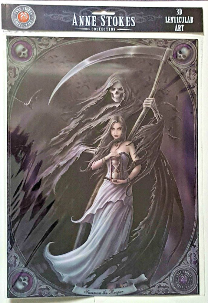 Brand New Licensed 3D Lenticular Art Anne Stokes Summon The Reaper Print