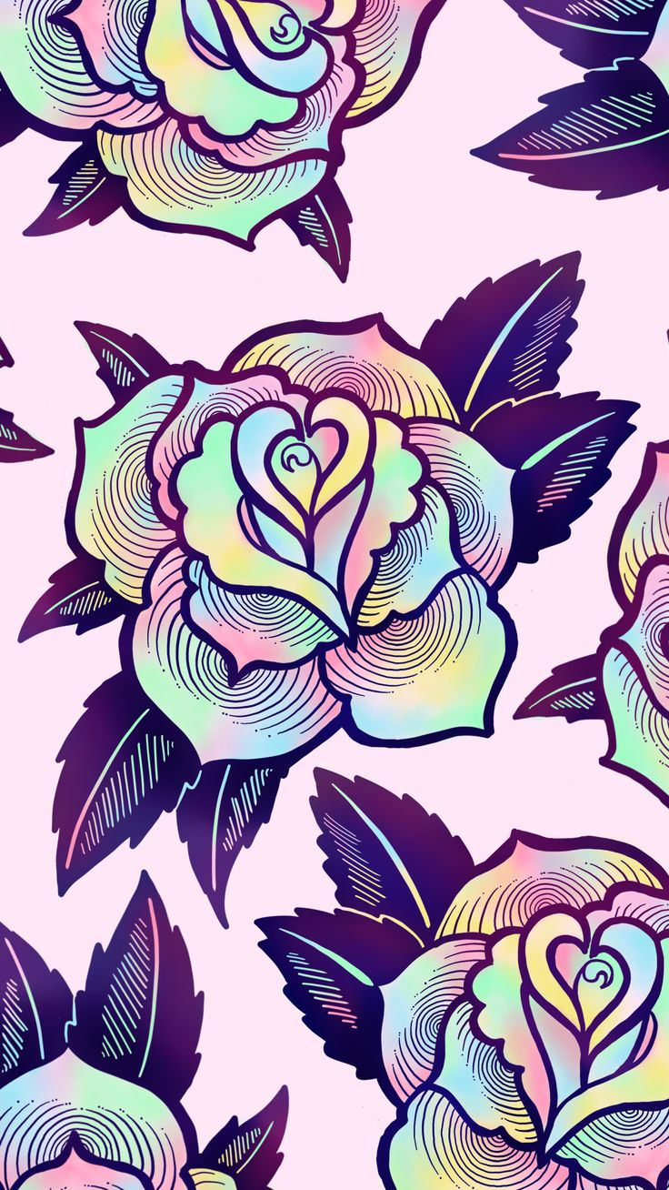 Cute, colorful psychedelic rose wallpaper for your phone or desktop computer. By Ectogasm