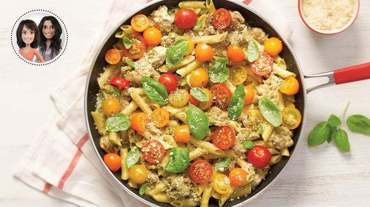 Pâtes crémeuses au pesto et aux tomates cerises tout-en-un