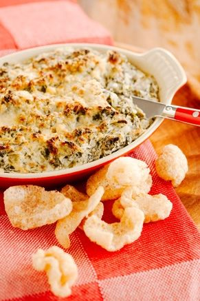 Warm Turnip Green Dip. Sounds a lot like spinach dip, but with turnip greens. Served with pork rinds because they add extra crunch and no carbs! #NationalSalsaMonth