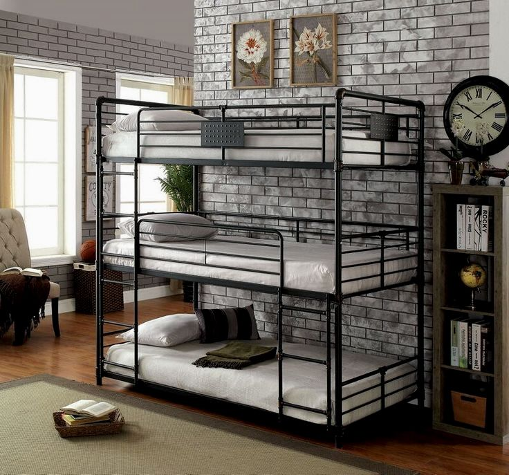 Olga I collection triple twin bed twin over twin over twin