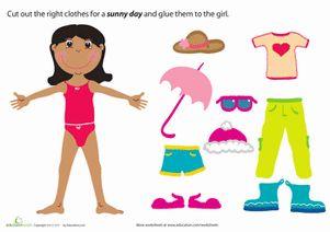 Summer Preschool Weather & Seasons Paper Projects Worksheets: Summer Paper Doll Girl
