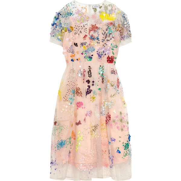 Ashish Embellished silk-organza dress, Women's, Size: XS (66 130 UAH) ❤ liked on Polyvore featuring dresses, pink cocktail dress, pink slip dress, embellished cocktail dress, see through dress and sheer dress